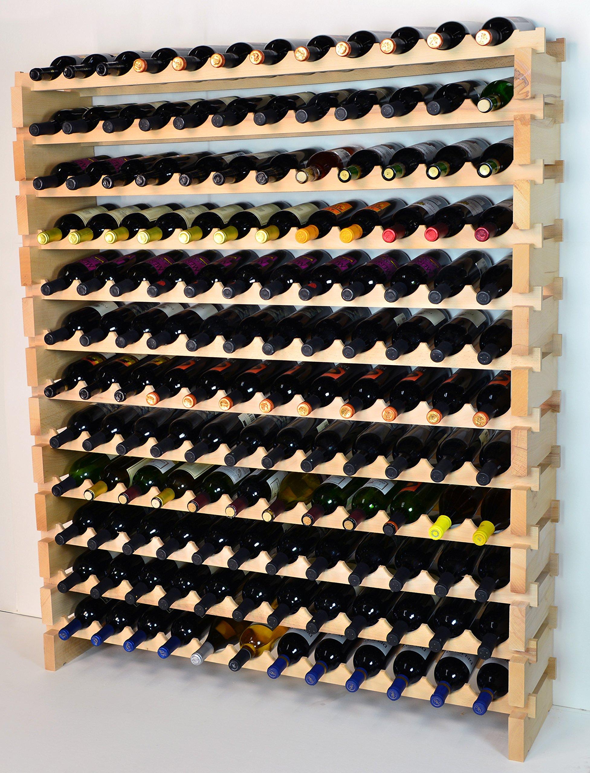 Modular Wine Rack Beechwood 48-144 Bottle Capacity 12 Bottles Across up to 12 Rows Newest Improved Model (144 Bottles - 12 Rows)