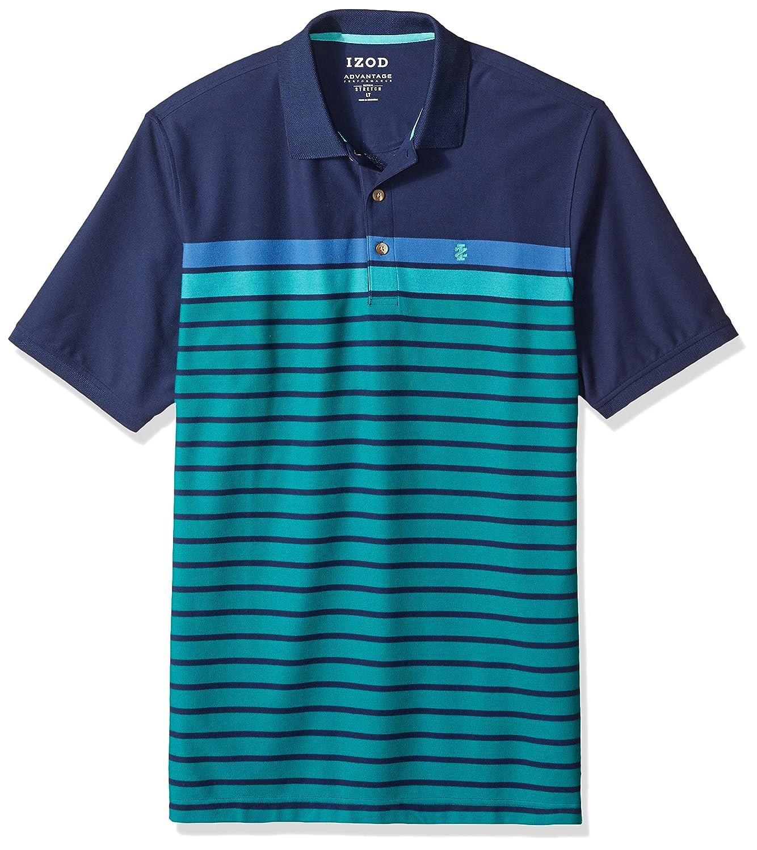 IZOD Men's Big and Tall Short Sleeve Advantage Colorblock Stripe Polo 45IK004
