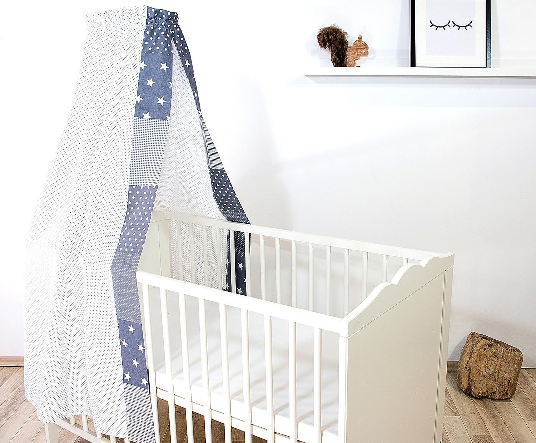 ULLENBOOM ® Baby-Betthimmel Anker Rot Blau (135x200 cm Baldachin, Baumwolle, für 60x120 cm & 70x140 cm Kinderbetten, Motiv: Sterne, maritim)