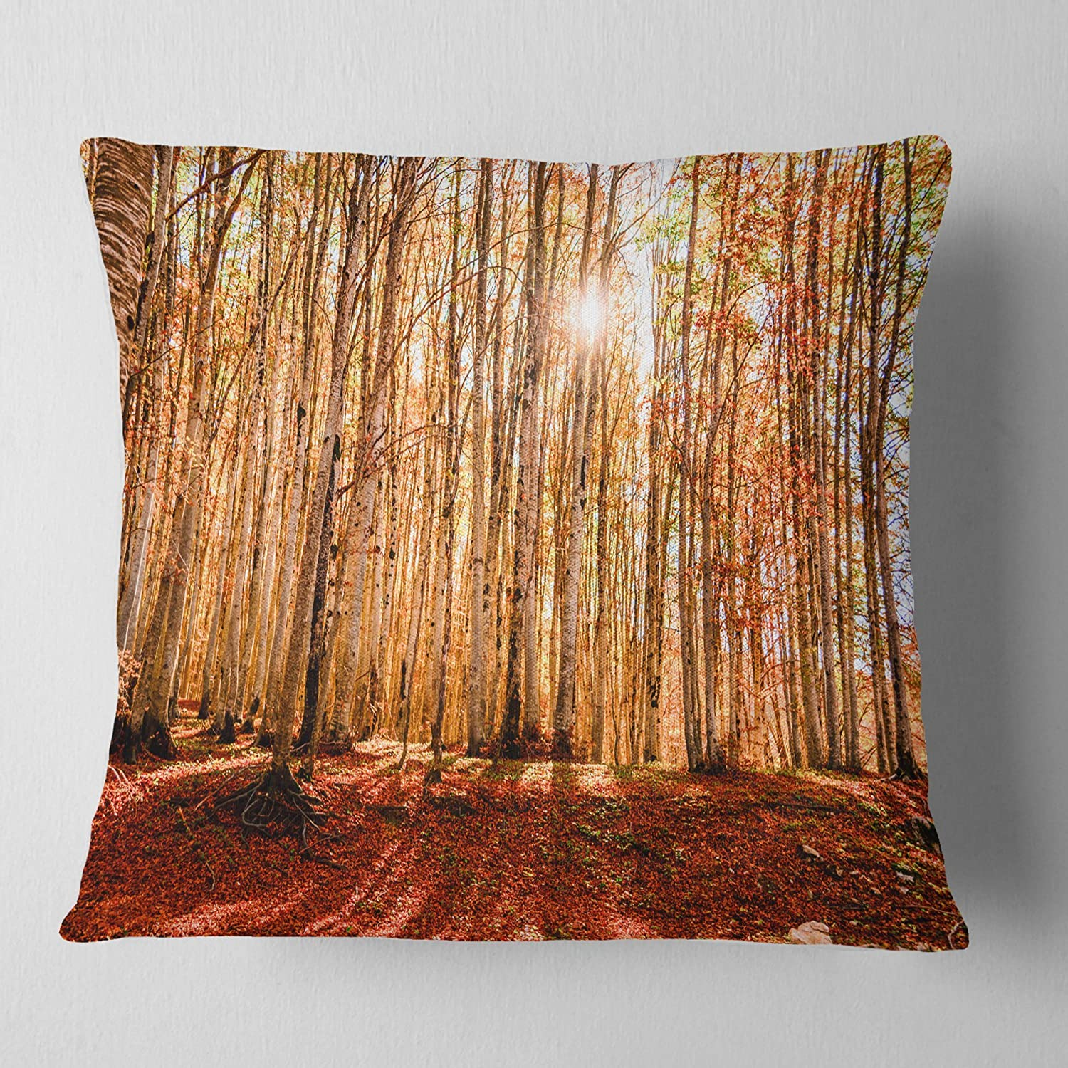 Designart CU13940-18-18 Bright Sun Over Thick Fall Modern Forest Cushion Cover for Living Room, Sofa Throw Pillow 18 in. x 18 in. in, Insert Printed On Both Side