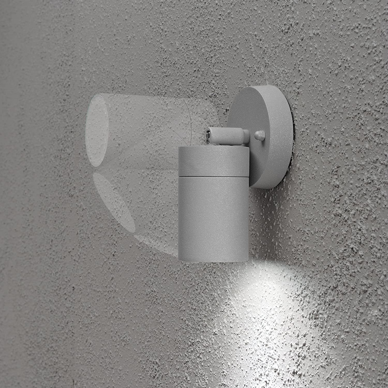 color negro L/ámpara de pared inclinable Konstsmide Modena 7598-750 9 x 8 x 10,5 cm, bombilla de 35 W, IP44, acabado mate, aluminio