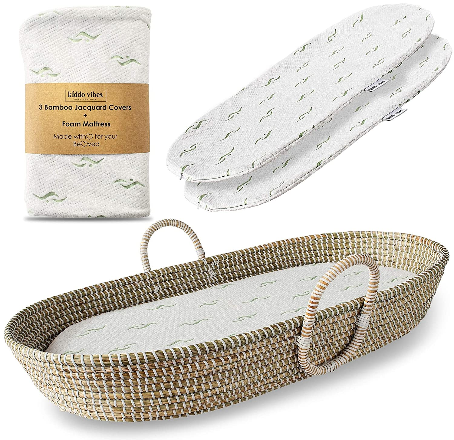 Baby Changing Basket for Nursery Changing Table Set. Baby Moses Basket, Thick Diaper Changing Pad and 3 Soft Bamboo Changing Mat Covers. Newborn Seagrass Basket, Cute Baby Shower Gift