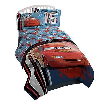 Disney/Pixar Cars 95 Twin 3 Piece Blue Sheet Set With Lightning McQueen  (Official