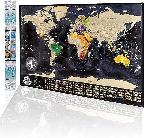 Póster de Mapa del Mundo Para Rascar - Mapa de Viajes con Caja de Regalo, Diseño de