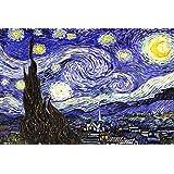 """Canvas Interiors - Quadro grande con riproduzione de """"La notte stellata di Van Gogh"""", pronto da appendere, dimensioni: ca. 76 x 51 cm"""