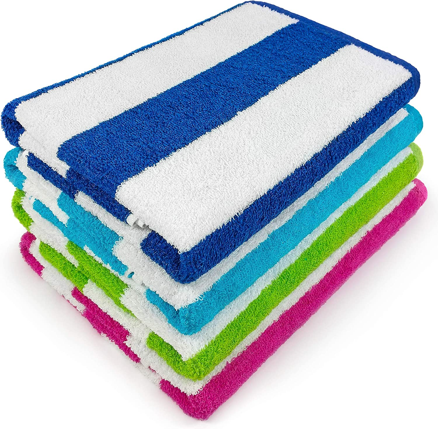 Extra Soft Beach Towel 32 x 62 inch 4 Pack Hotel Pool & Resort Style Terry 100% Cotton