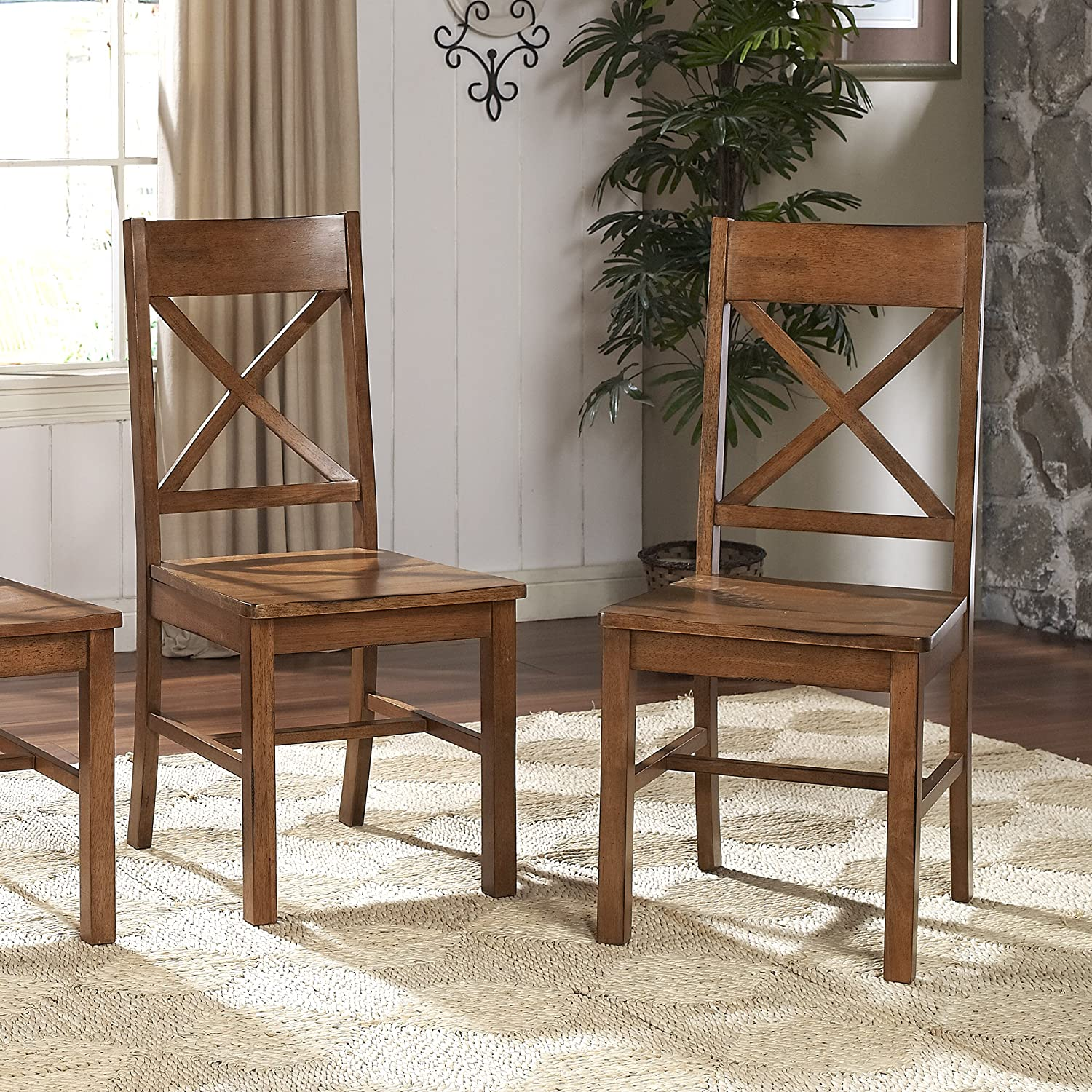 Amazon.com: Solid Wood Antique Brown Dining Chairs, Set of 2 ...