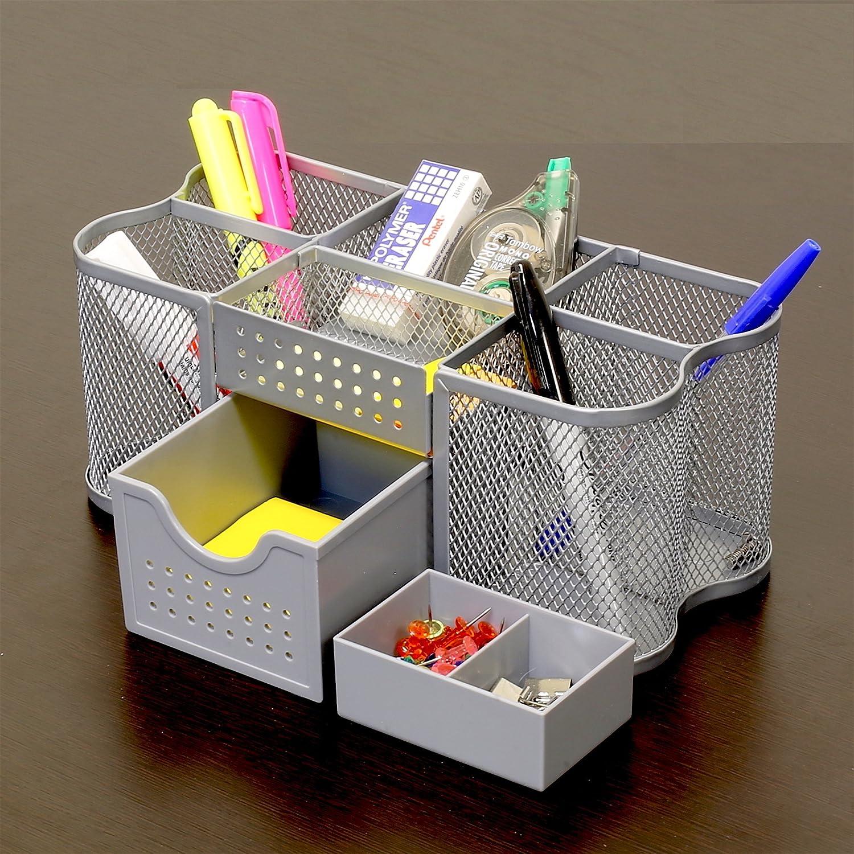 Desk Organizer Amazoncom Decobros Desk Supplies Organizer Caddy Silver