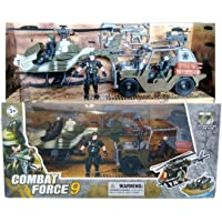 IndusBay® Army Vehicle Toy Set with Military Vehicle Jeep Apache Helicopter and Special Ops Soldier Base Camp Action Figure Vehicle Toy for Kids