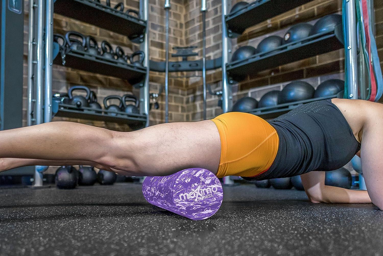 Pilates 15 cm x 45 cm Punto de Disparo Instrucciones Incluidas Maximo Fitness Rodillo de Espuma Rodillo Muscular Superior Gimnasio Yoga Herramienta Auto-Masaje para el hogar