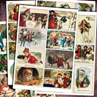 Traditional Vintage Christmas Decoupage Craft Scrapbooking Sheets / Victorian arts and craft up cycling