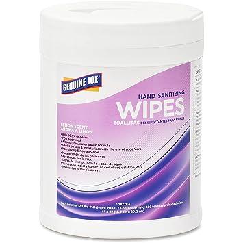 Genuine Joe Sanitizing Wipes, 120 Wipes, 6/CT, Lemon Scent