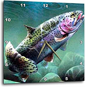 3dRose DPP_3462_2 Rainbow Trout Wall Clock, 13 by 13-Inch
