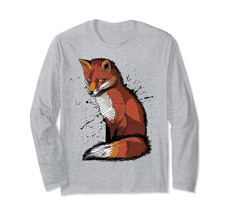 Stain Fox long – Sleeve t-shirt animal beautiful cute art-fa