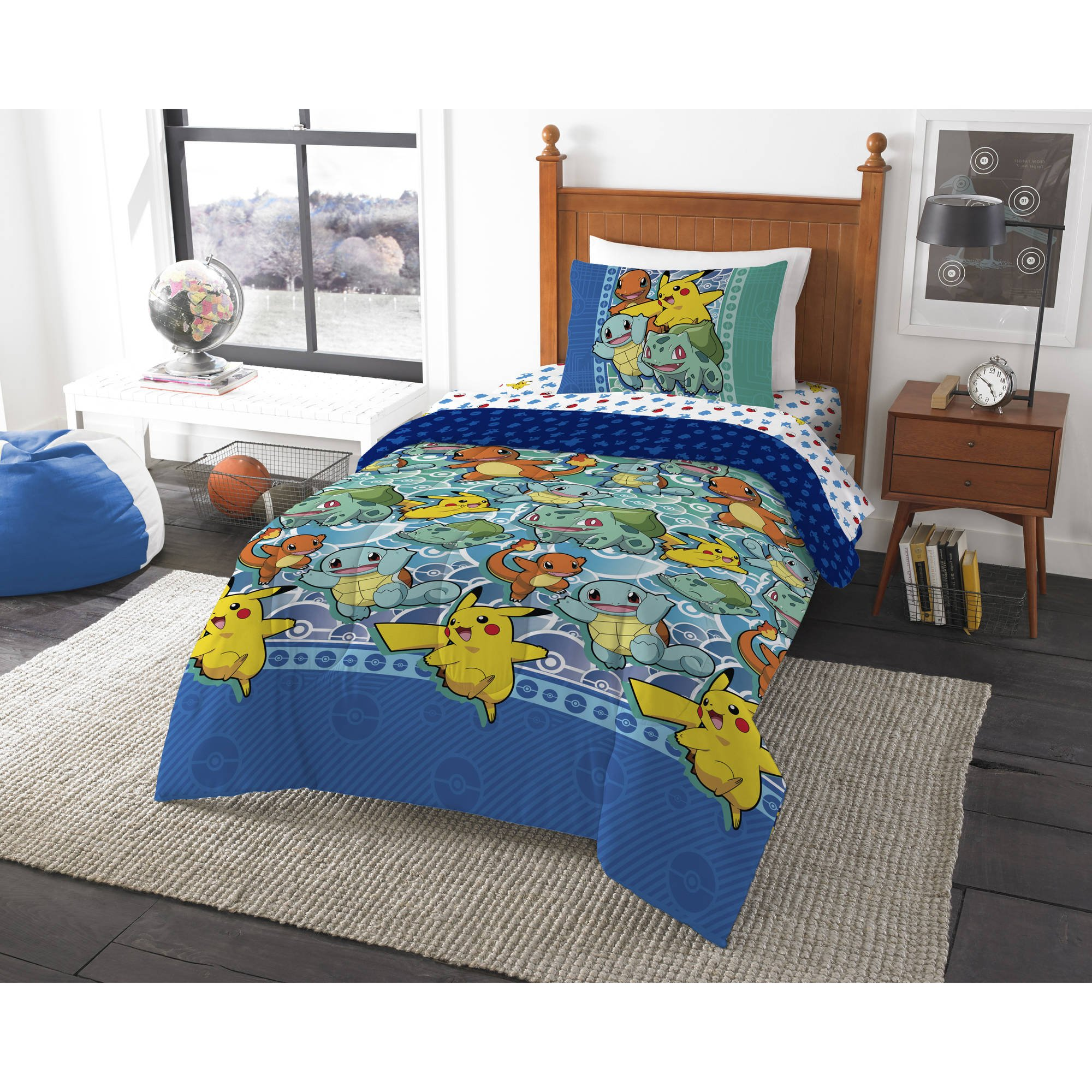 Pokemon ''First Starters'' Twin Bed in a Bag Bedding Set