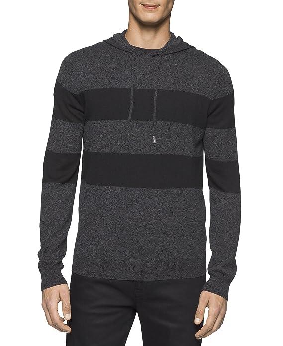 Cross border:- Calvin Klein Men's Merino Stripe Hoodie low price