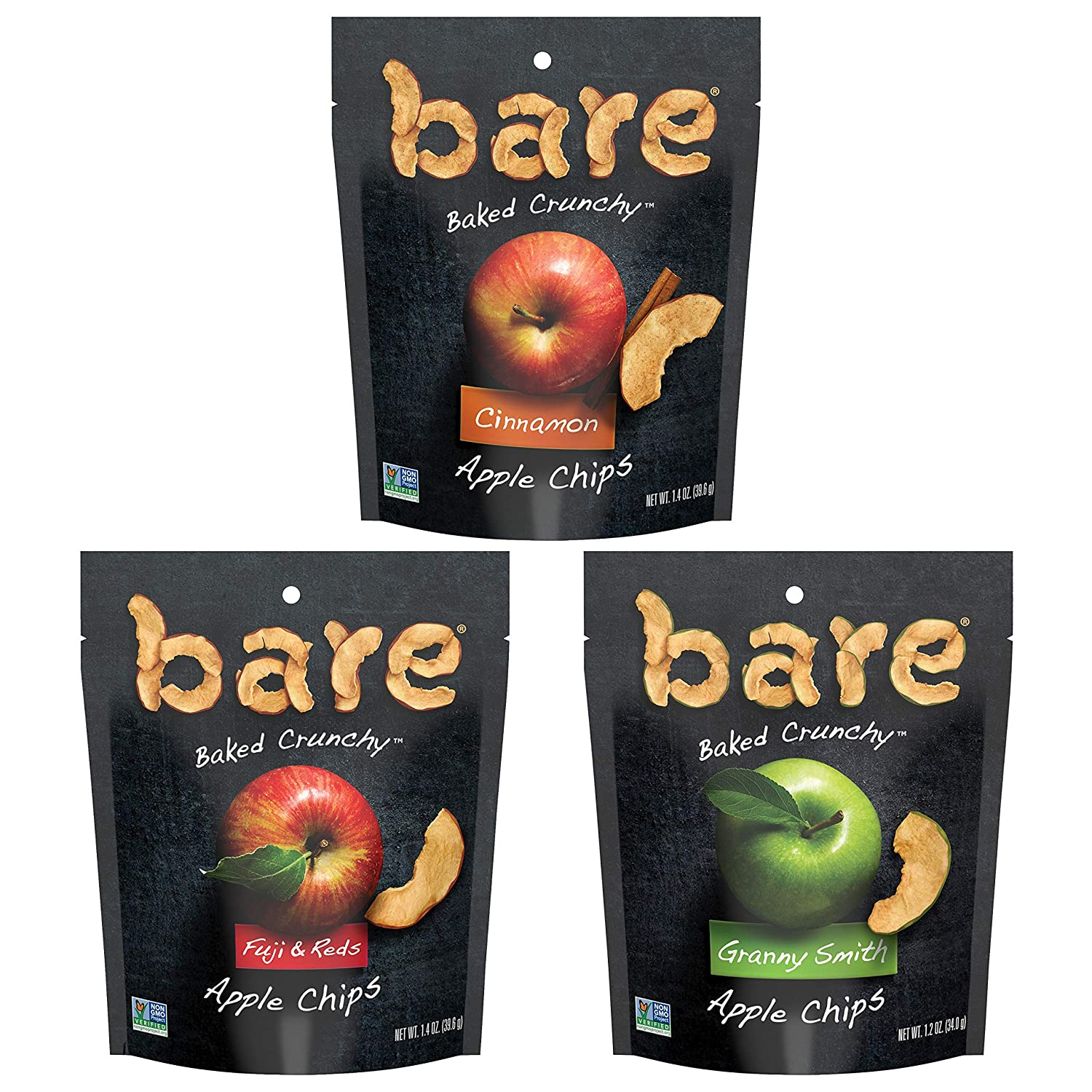 Bare Baked Crunchy Apple Chips, Variety Pack, Gluten Free, 1.2 Ounce/1.4 Ounce Bag, 6 Count