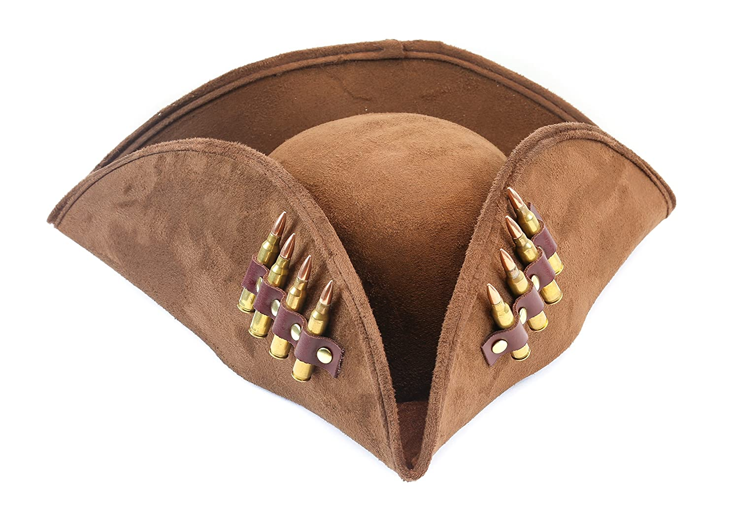 Men's Pirate Brown Suede Real .223 Bullet Costume Hat - DeluxeAdultCostumes.com