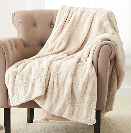 Amazoncom Pinzon Faux Fur Throw Blanket 63 X 87 Ivory Home