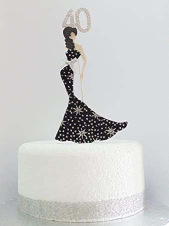 40th Birthday Cake Topper Glamorous Lady in a Black Silver Star