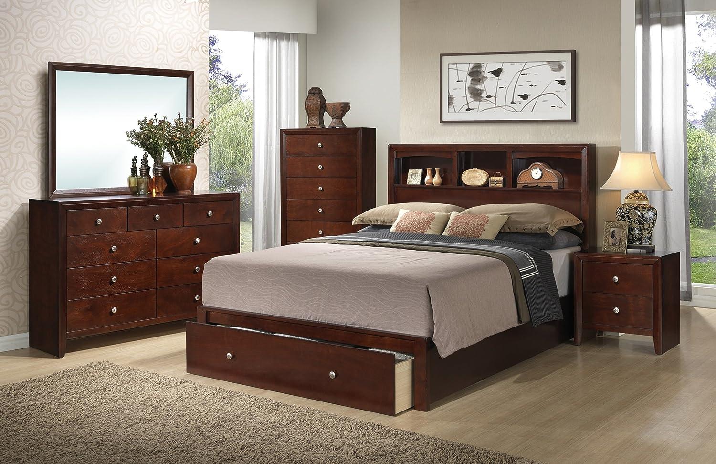 Amazon com cherry veneer modern queen size bedframe w underbed drawer storage shelf hb fb 4pc set dresser mirror nightstand rubber wood bedroom furniture
