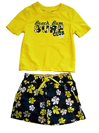 5e5f02753c3ca Kiko & Max Baby/Toddler Boys' Two Piece Rash Guard Swim Trunks and Shirt