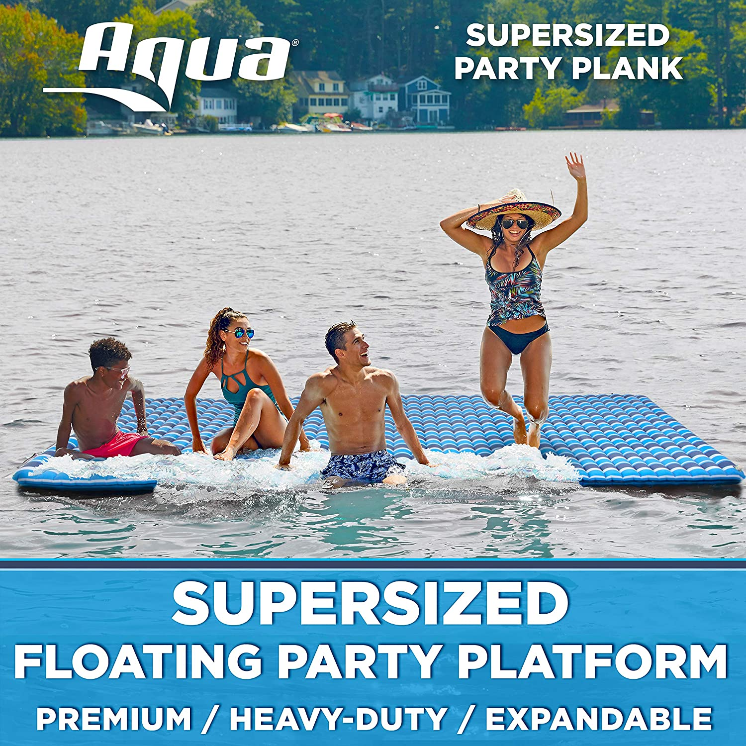 Aqua Expandable Floating Island Raft, 1,000 Lbs. Capacity, Inflatable Lake Float, Plank...