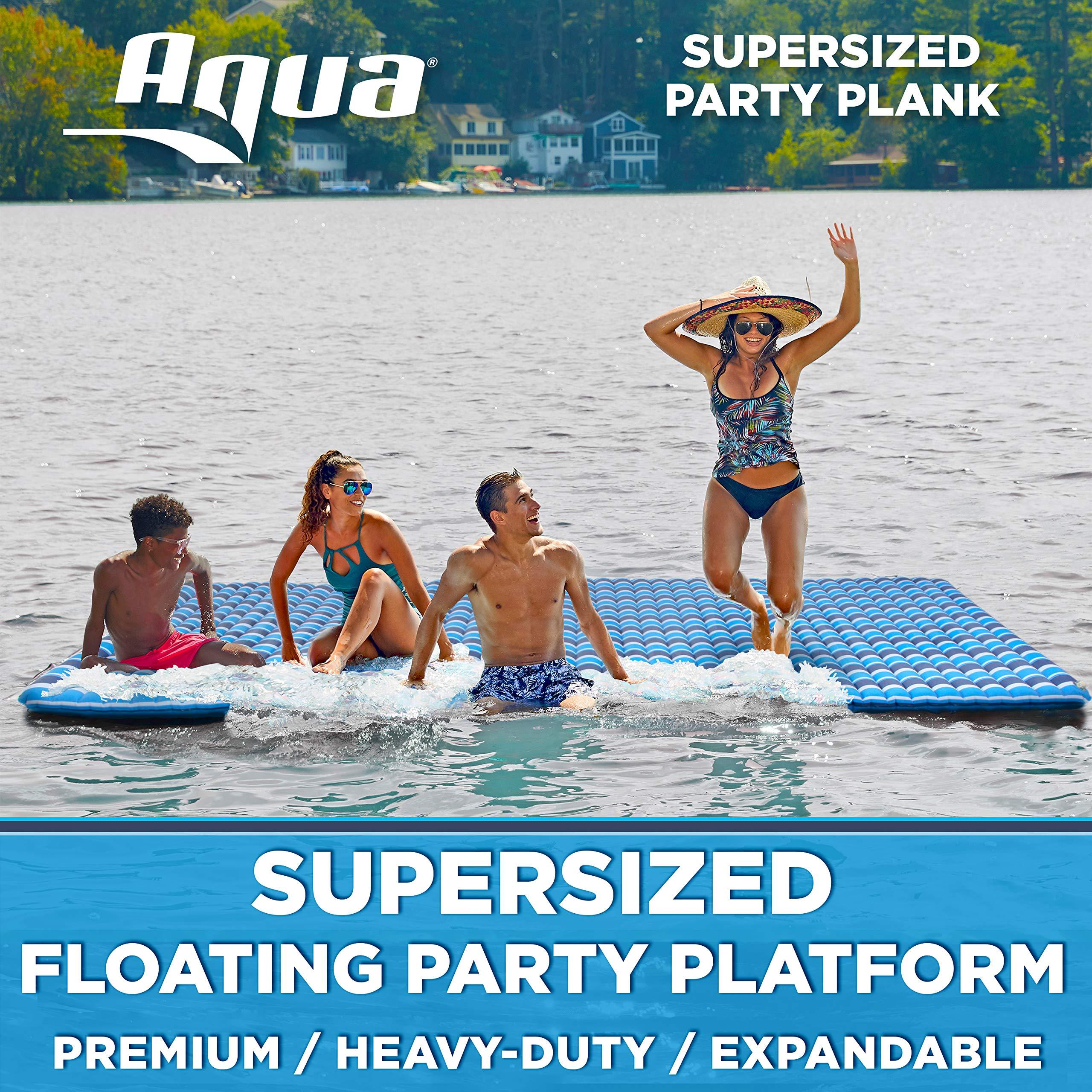 Aqua Expandable Floating Island, Lake Raft, Water Mat, Inflatable Lake-Ocean-Pool Float, 1,000 Lbs. Capacity, Heavy Duty, X-Large, Navy/White Stripe