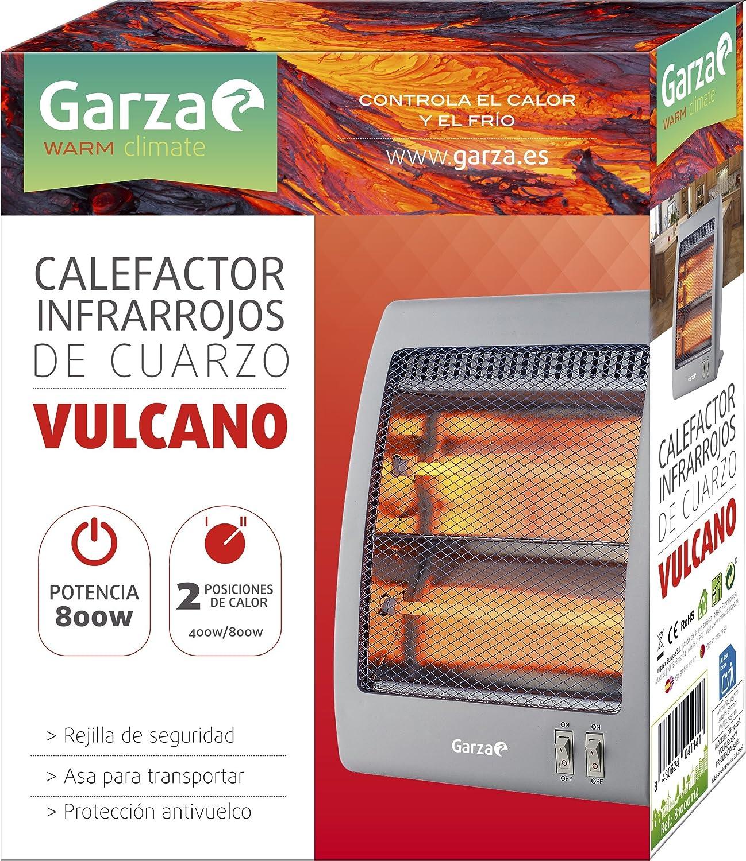 Garza Vulcano - Calefactor Infrarrojos de Cuarzo con rejilla de Seguridad , potencia 800W: Amazon.es: Hogar