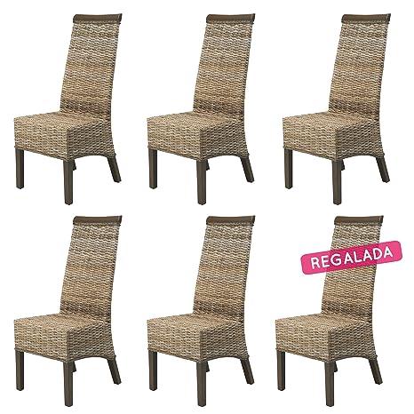 REBAJAS : -52% Lote 6 sillas de ratan Berlin gris sillas para comedor