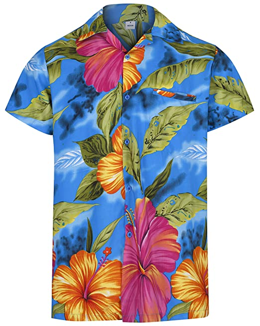 21b9dbe1 Image Unavailable. Image not available for. Colour: Mens Hawaiian Shirt  Short Sleeve STAG Beach Holiday Hibiscus Flower Fancy Dress ...