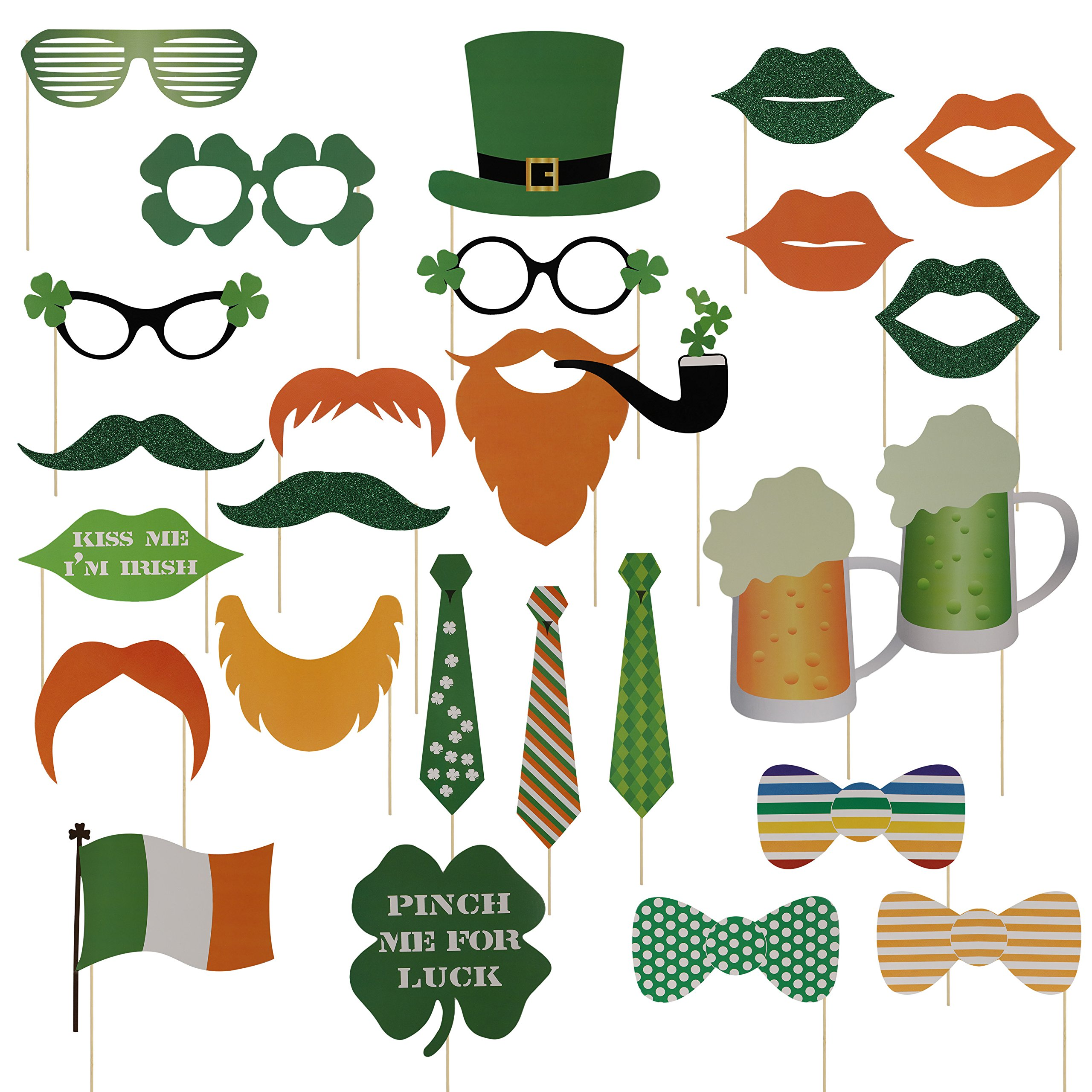 VIPITH Set of 27 Pieces St Patricks Day Photo Booth Props Kit DIY Photo Posing Prop Party Supplies with Funny Funny Mustache Hat Lips Eyeglasses Neck Ties Beers for St Patricks Day Themed Parties