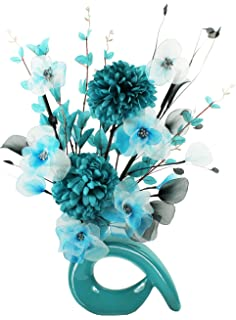 Flourish 795061 qh2 cream vase with teal and turquoise nylon turquoise blue vase with teal blue and white artificial flowers ornaments for living room mightylinksfo