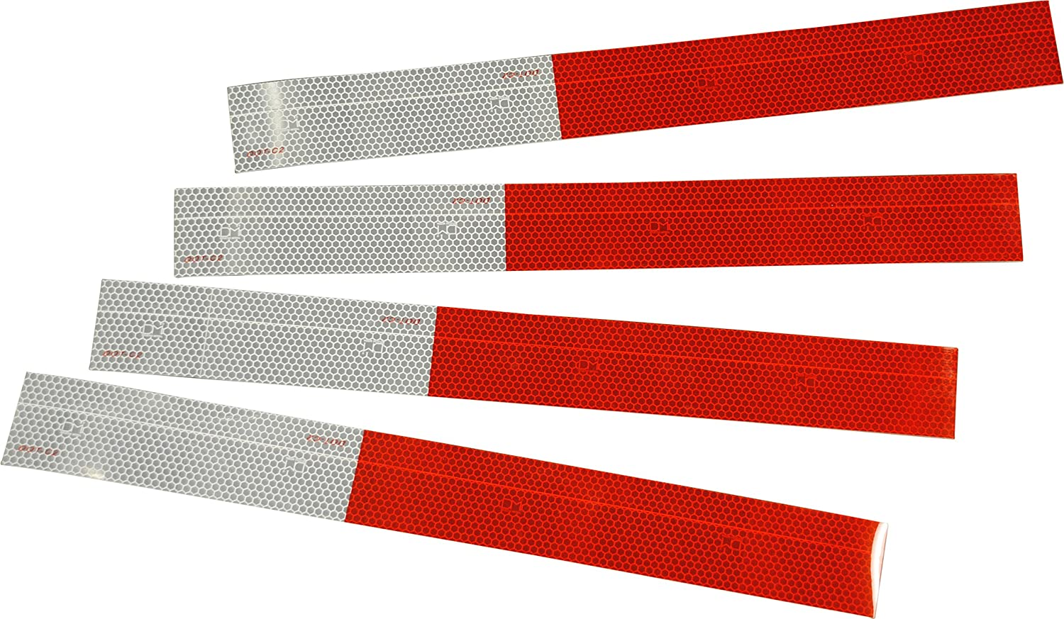 10 Year Metalized Single Layer DOT-C2 Reflective Conspicuity Tape Each strip 11 Red // 7 White USA seller 4 Pack of 18 Strips 967 candle power