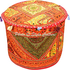 Stylo Culture Decorative Bohemian Patchwork Pouf Cover Round Embroidered Mirror Pouffe Ottoman Multicolored Cotton Traditional Furniture Footstool Seat Puff (18x18x13) Bean Bag Living Room Decor