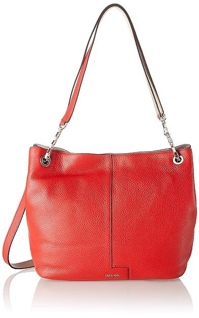 d529772c2ae Calvin Klein Jeans Women's MIA Chain Tote Bag, (Fiery RED/Beach 902 ...