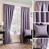 Sateen Woven Blackout Mauve Pencil Pleat/Tape Top Unlined Readymade Curtain Pair 45x54in(114x137cm) Approximately By Hamilton McBride®