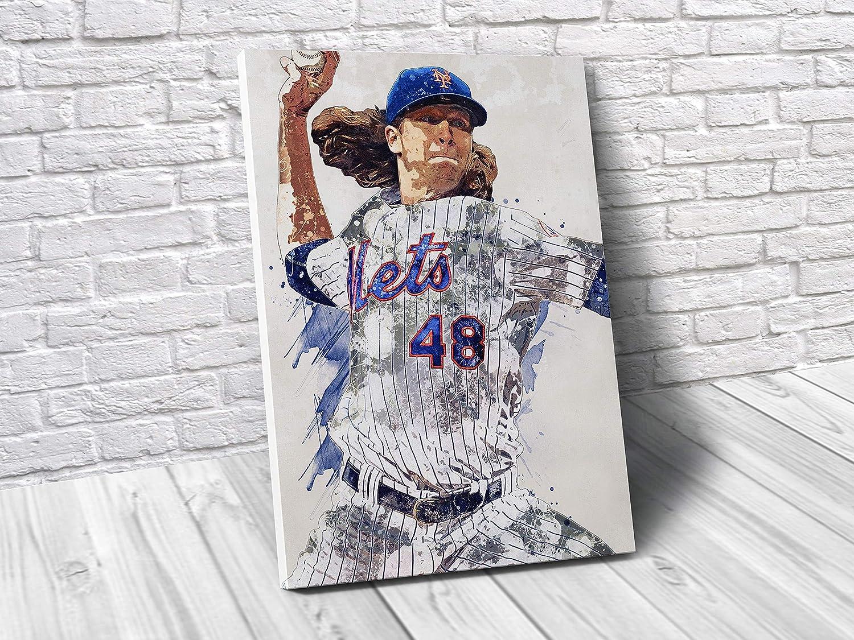 TopShelfPrints Jacob deGrom New York Mets Poster/Canvas Print - Baseball Artwork - Kids Room Wall Decor - Man Cave - Sports Decor - Birthday Gift Idea
