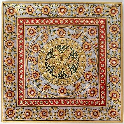 Amazon Com Rajasthani Jaipur Marble Plate Decor Painting Handmade