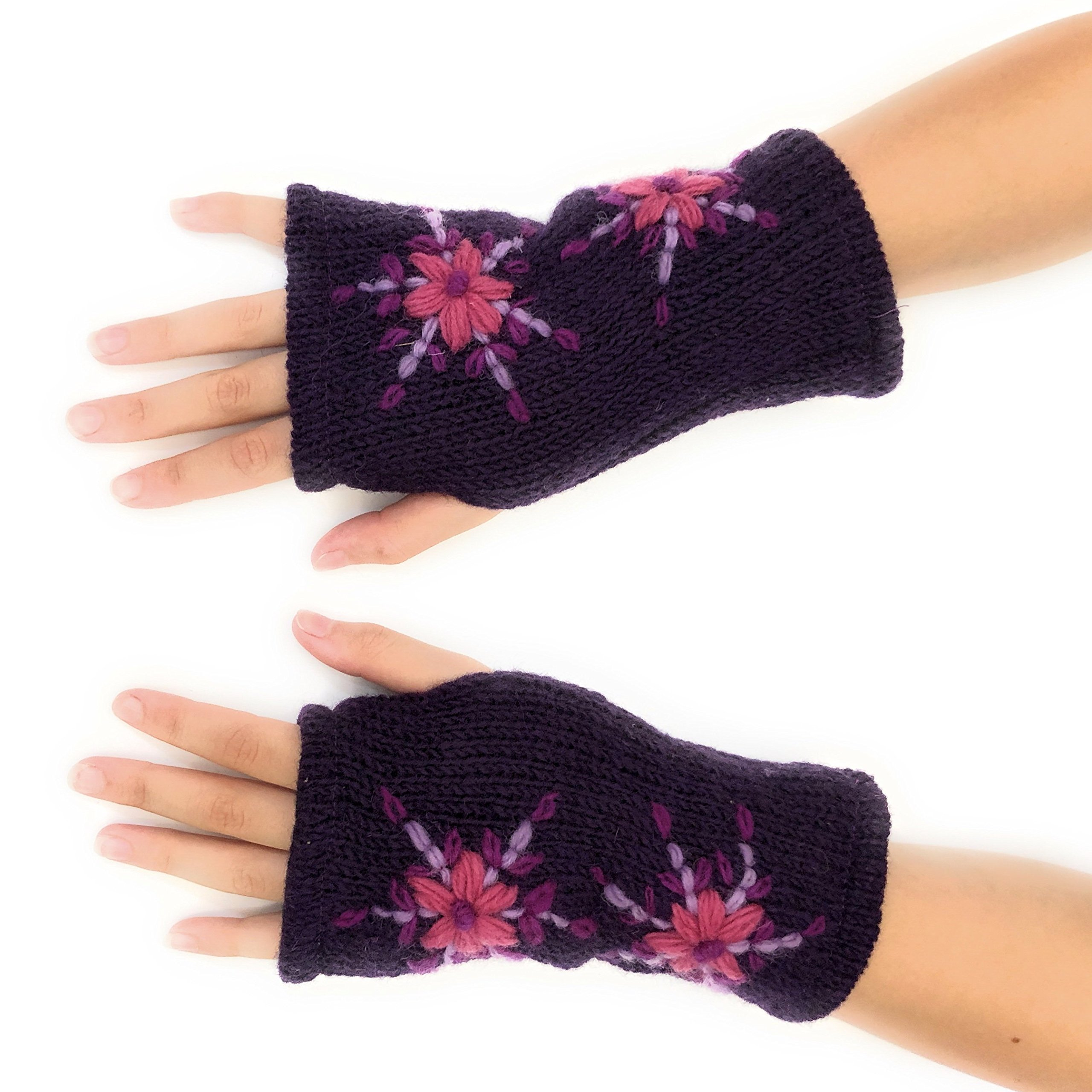 Hand Knit Fingerless Embroidered Double Flower Winter Wool Texting Gloves Mittens Warm Fleece Lined (Purple)
