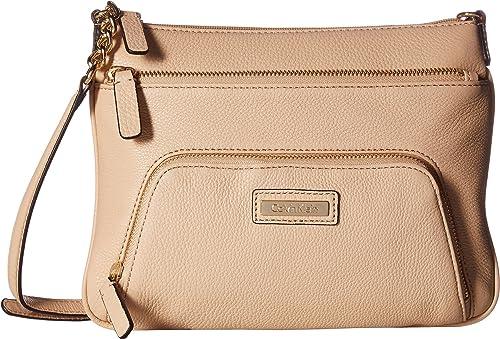 6c43984f0e06 Calvin Klein Women s Key Item Pebble Leather Crossbody Nude Crossbody Bag