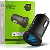 ComputerFix Dual USB Car Charger - Portable & Compact Dual Port 2.4A Output Charger Adapter Will Charge Your iPhone,iPad,Camera,Bluetooth Headphones,MP3,and More! - Perfect for Long Distance Travelers