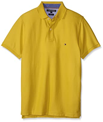 8f381046 TOMMY HILFIGER MW0MW00140 50/2 PERFORMANCE POLO Men YELLOW S: Amazon.co.uk:  Clothing