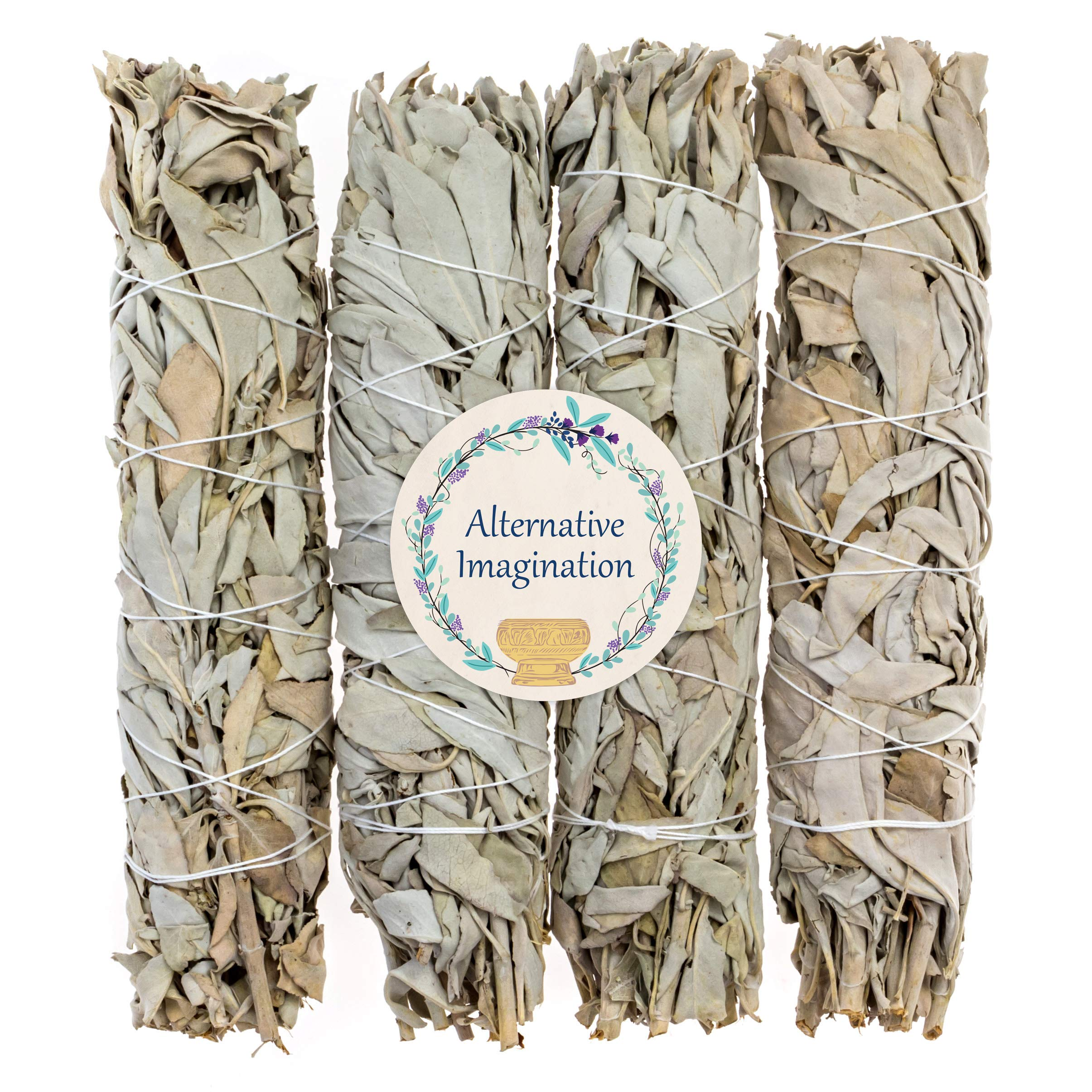 4 Premium California White Sage, Each Stick Approximately 8 Inches Long and 1.25 Inches Wide for Smudging Rituals, Energy Clearing, Protection, Incense, Meditation, Made in USA by Alternative Imagination