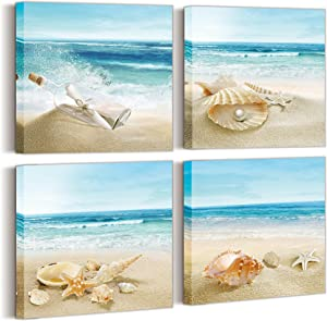 Beach - Wall art for living room Bedroom Seashell Picture - canvas-wall decor canvas wall prints for Wall Decor for Dining Room Starfish Nature Picture Blue Canvas Artwork A set includes 4 panels beach wall art picture sets each panel size is 14x14 inches.
