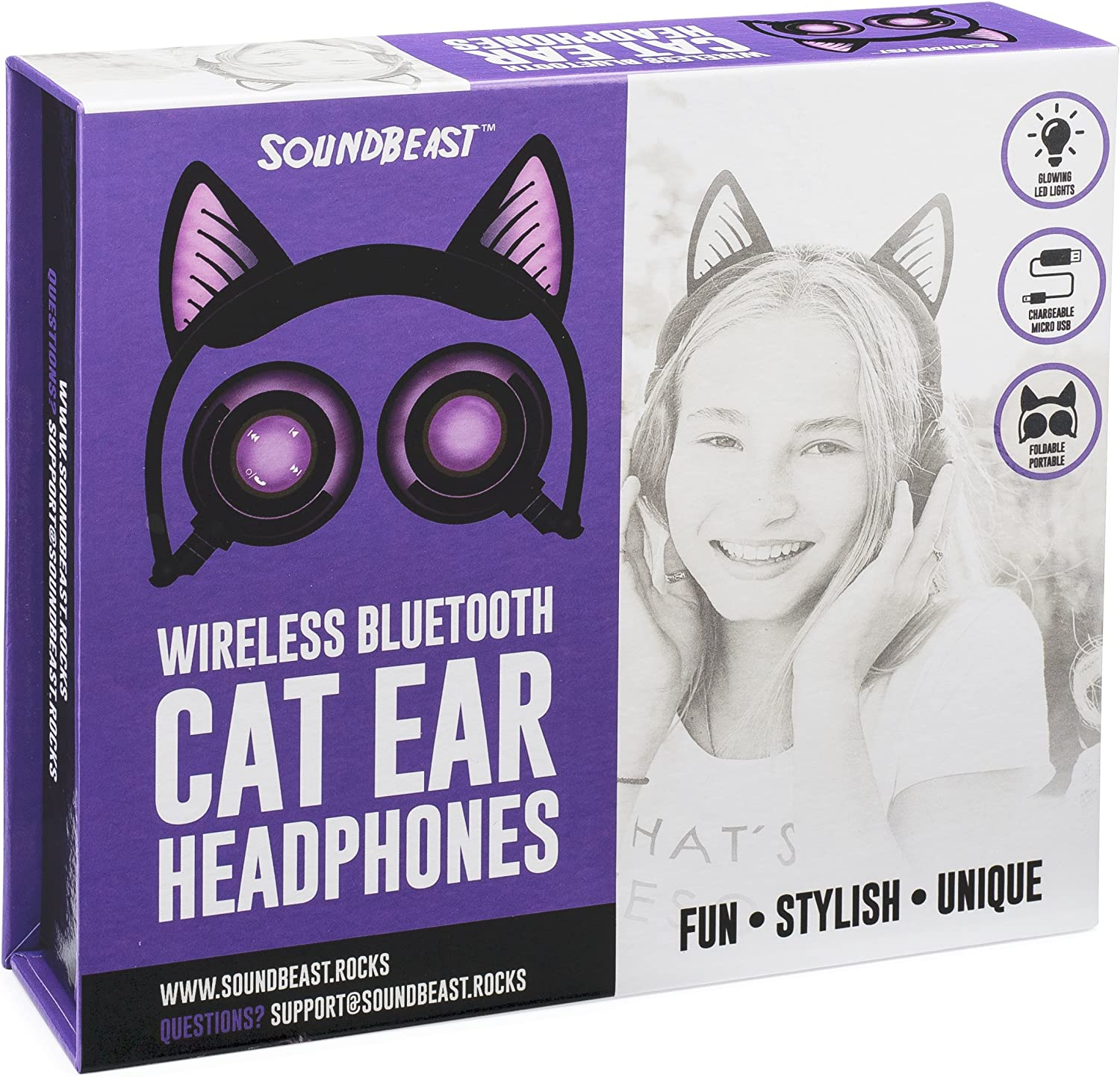SoundBeast Bluetooth Cat Ear Headphones