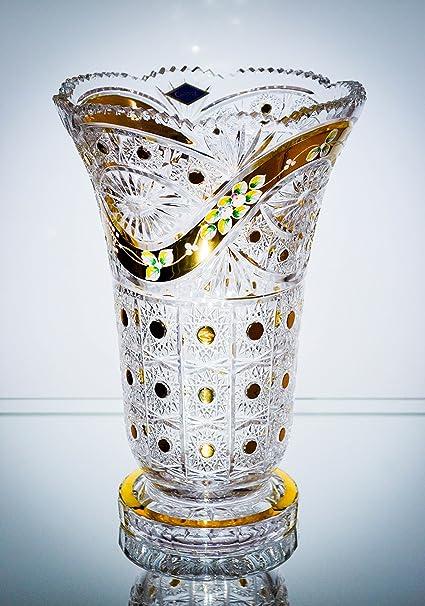 Amazon Czech Bohemian Crystal Glass Vase H 12 Hand Cut Hand