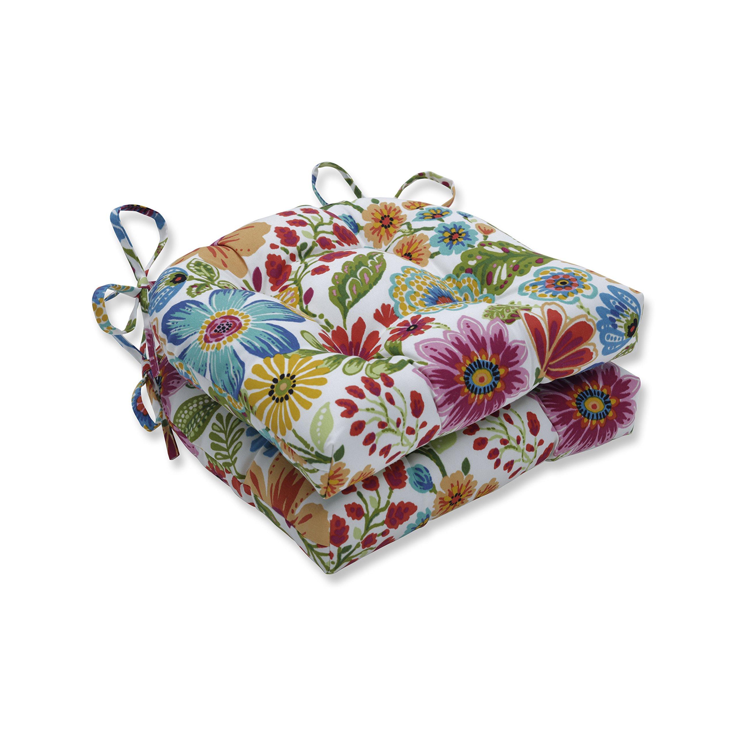 Pillow Perfect Outdoor | Indoor Gregoire Prima Reversible Chair Pad (Set of 2), Blue 16 X 15.5 X 4