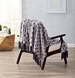 Printed Flannel Fleece Super Soft Blanket with Printed Pattern. Lightweight, Warm Throw Blanket with Decorative Fringe. Liliana Collection By Great Bay Home Brand. (Steel Grey)