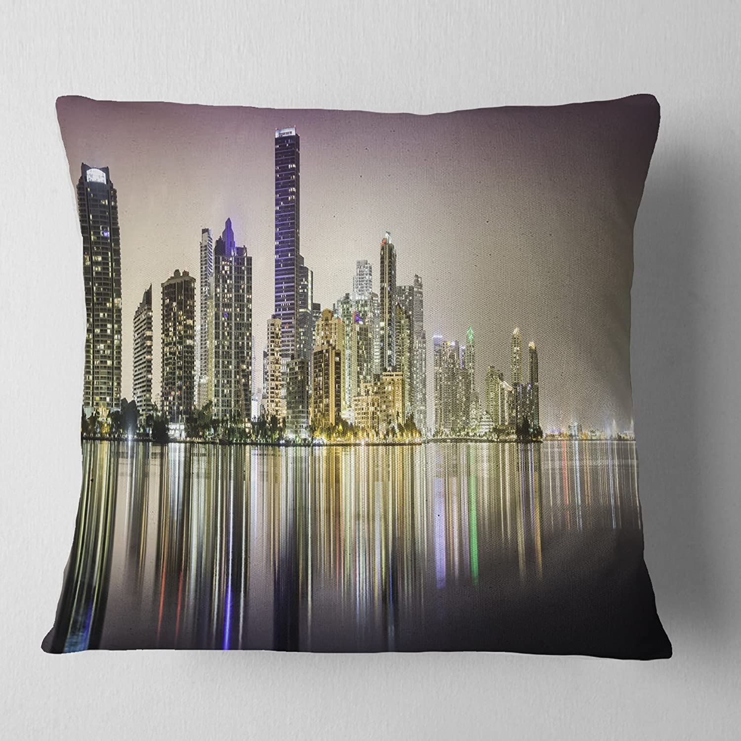 in Insert Printed On Both Side Designart CU14739-16-16 Miami Downtown Night Panorama Cushion Cover for Living Room Sofa Throw Pillow 16 in x 16 in
